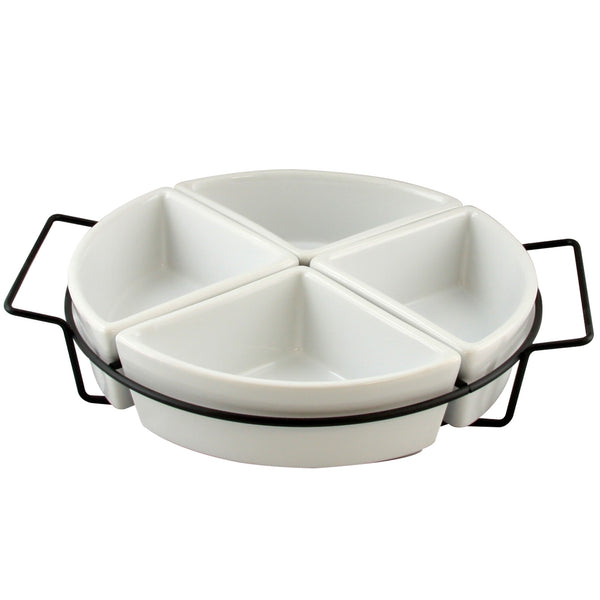 Gibson Gracious Fine Ceramic Dining Four Section Tray Set with Metal Rack in White