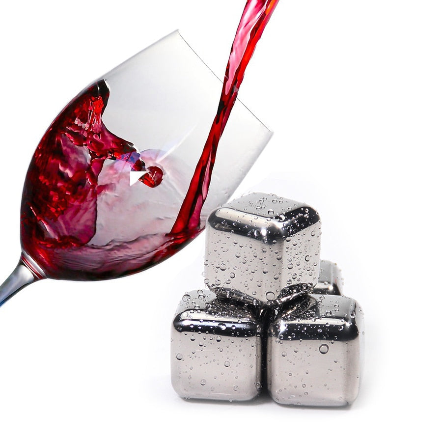 Stainless Steel Ice Cubes, Reusable Chilling Stones for Whiskey Wine, Keep Your Drink Cold Longer
