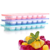 3-pack Silicone Ice Cube Trays With Spill-Resistant Removable Lid, Easy Release Stackable 21 Cavity