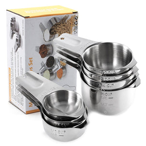 7 Piece Stainless Steel Measuring Cup Set with Nesting Cups Feature