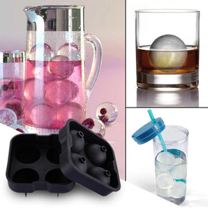 Silicone Ice Ball Maker Mold for Whiskey Molds 4 x 1.78 Inch Ice Balls
