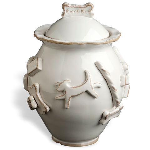 Dog Treat Jar - French White
