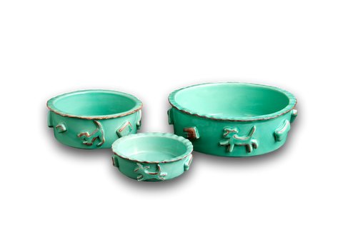 Dog Food/Water Bowl - Green