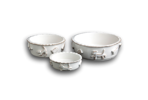 Dog Food/Water Bowl - French White