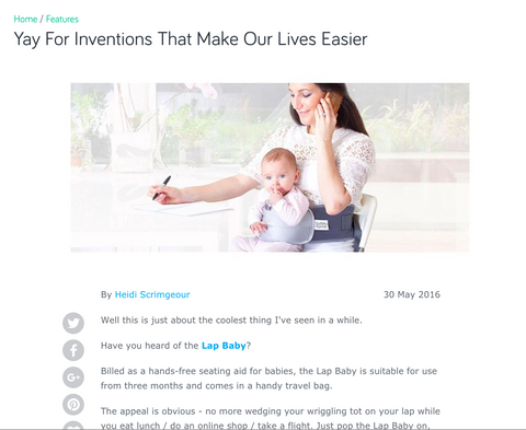 Yay! for inventions that make our lives easier: review of LapBaby