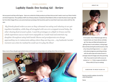 LapBaby review at MessyBlog.uk