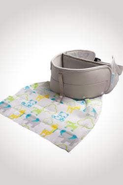 LapBaby hands-free seating aid, with washable lap-cloth.