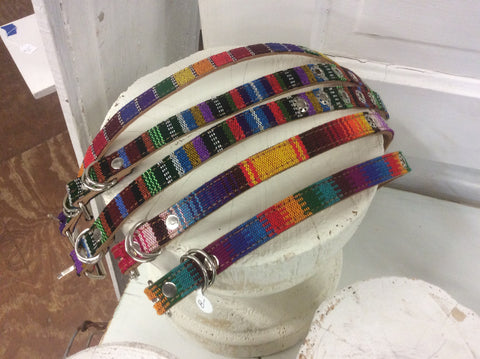 Handmade, top grain leather and handwoven Guatemalan fabric dog collar.