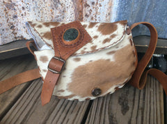 Hand laced leather with a weathered, rustic look Cowhide/leather small  purse