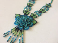Classic, sunflower design hand beaded HUICHOL, seed bead necklace.