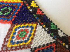 Gorgeous! Hand beaded glass seed bead Huichol collar style necklace.