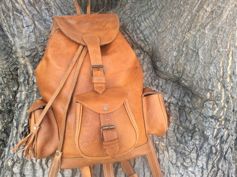 Classic, handmade, oil rubbed ,top grain leather backpack.