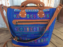 Nubuck leather handles and Bright fabric and leather tote/ weekender