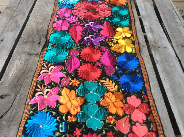 Beautiful, bright table runner or accent piece. Sure to be the focal point of any room. Silk and cotton woven fabric. Perfect pop of color.