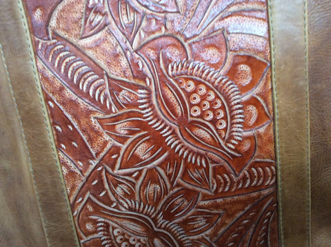 Hand tooled, oiled rubbed, hand stitched  leather accented with fringe purse or tote