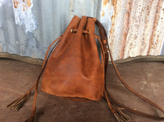 Top grain brown leather leather bucket bag handmade leather purse