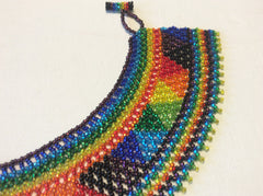 Handbeaded Rainbow colors seed bead, collar necklace. Gorgeous and stylish, beaded in Santiago Atitlan Guatemala .