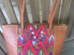 Leather and handwoven fabric tote bag/ purse.