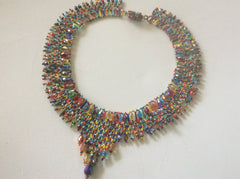Handmade glass seed bead necklace with magnetic clasp