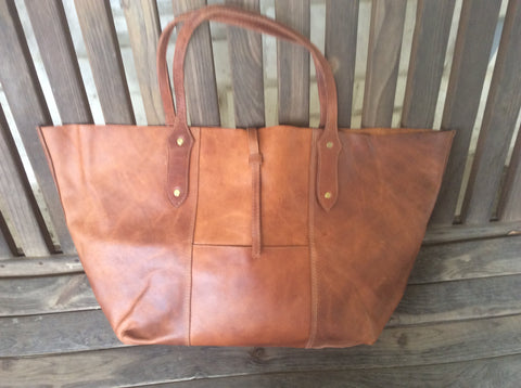 Rustic, big, handmade, oil rubbed, top grain leather floppy tote!