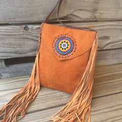 Brown nubuck leather purse. Handmade. Hand stitched, hand laced leather purse.