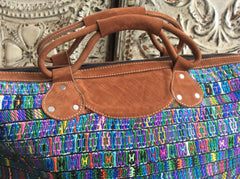 Original huipil  woven on a blackstrap loom Handwoven/Leather weekender