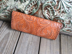 Full grain, hand tooled leather clutch top quality, leather clutch