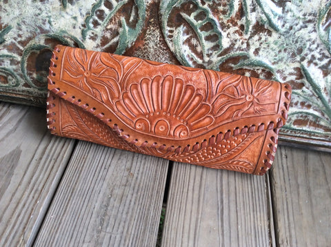 Full grain, hand tooled leather clutch top quality, leather clutch.