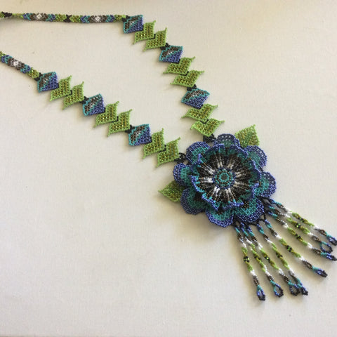 Gorgeous HUICHOL necklace. Hand beaded, using glass seed beads