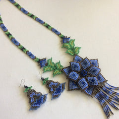 Classic Huichol hand beaded necklace.Blue and bronze colored seed beads