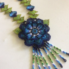 Classic HUICHOL Neclace, hand beaded, glass seed beads