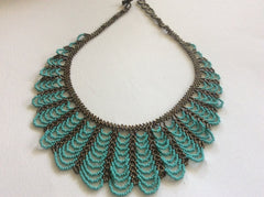 Beautiful hand beaded, turquoise and bronze colors glass bead necklace