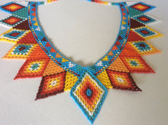 Beautiful, unique, collar necklace. Hand strung in Santiago Atitlan Guatemala