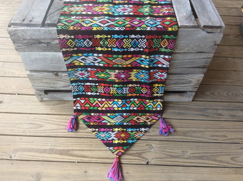 Beautiful handwoven Guatemalan table runner or accent throw.