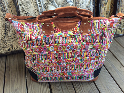 Traditional huipil, Mayan blousel handwoven and leather weekender.