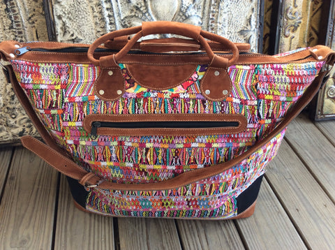 Traditional huipil, Mayan blousel handwoven and leather weekender