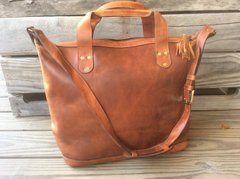 handmade, full grain leather, oil rubbed tote bag/carry on luggage. Unisex, leather bag. Leather diaper bag.multi purpose leather bag.
