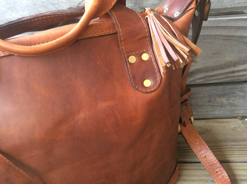 Handmade top grain leather tote/purse.