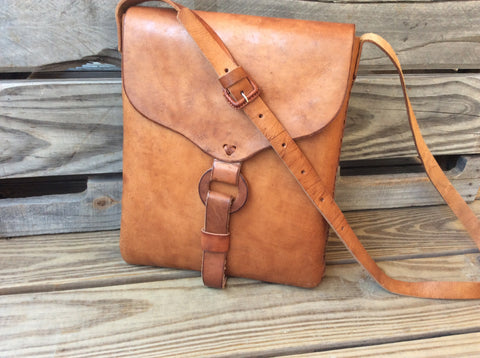 Leather crossbody satchel , hand tooled,top grain leather. Hand laced leather bag. UNISEX. Great IPAD holder. Messenger bag. Satchel style.
