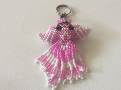 Cancer Awareness angel keychain. Hand beaded, using glass seed beads.