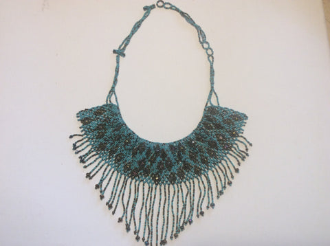 bronze and turquoise hand beaded necklace