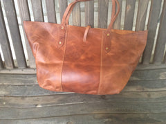 Rustic, big, handmade, oil rubbed, top grain leather floppy tote