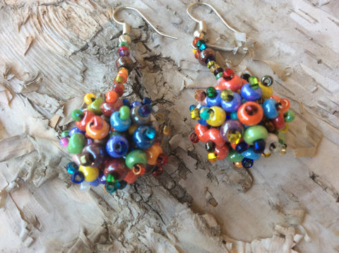 Multi color, confetti, hand beaded earrings.