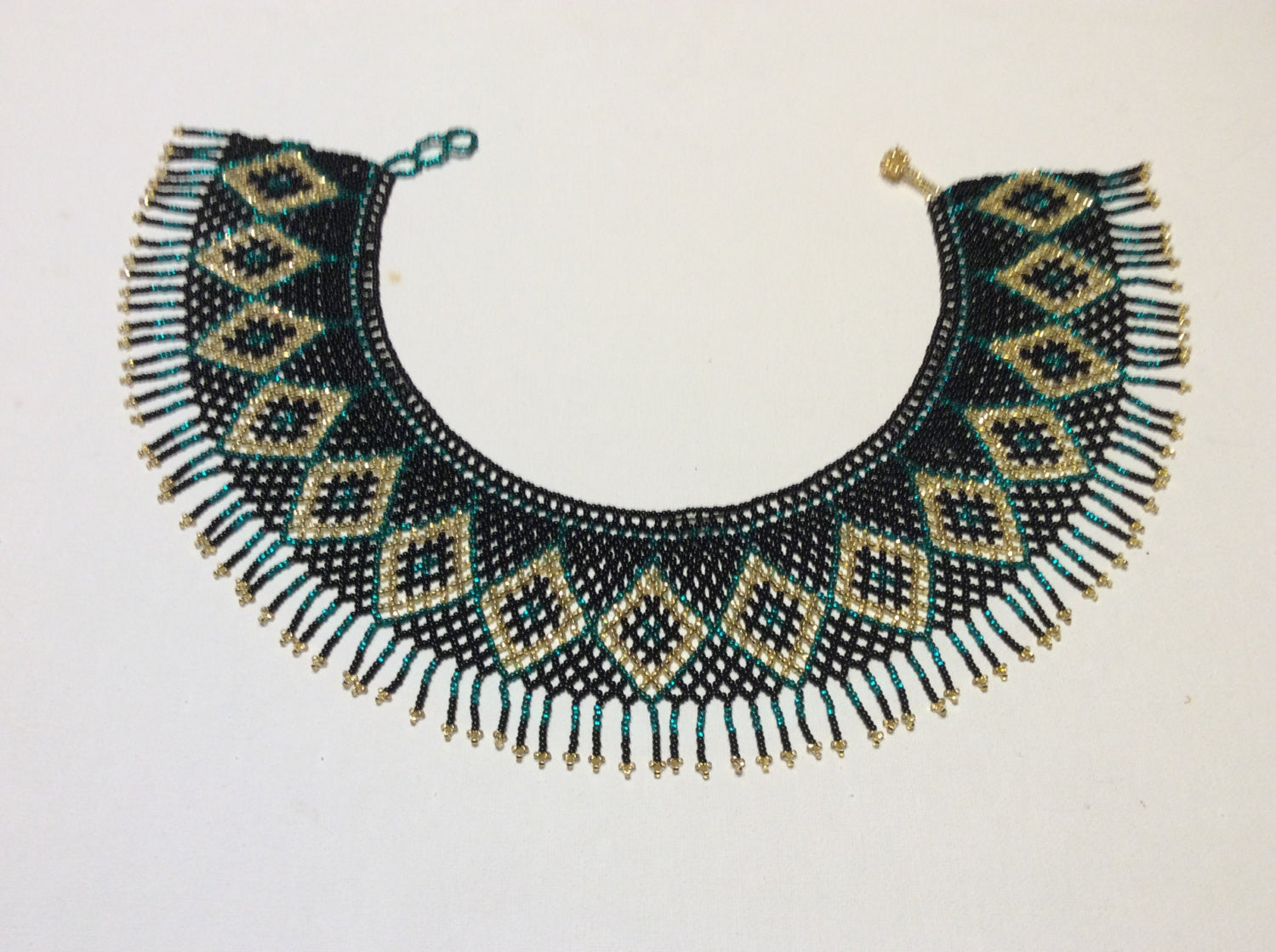 7d695cd6443eac Fringed , seed bead collar necklace. Huichol necklace. | Beads,Bags &  Baubles
