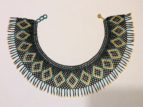 Fringed , seed bead collar necklace. Huichol necklace.
