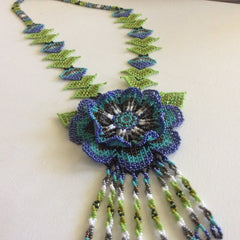 Gorgeous HUICHOL necklace. Hand beaded, using glass seed beads.