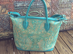 Beautiful TURQUOISE hand tooled  leather travel tote