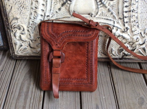 Dark brown leather hand tooled leather satchel