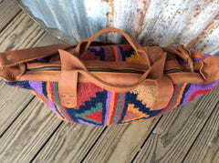 Hand tufted wool and leather bag