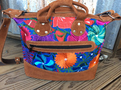 Mini tote, bright and colorful, finished with nubuck leather. Makes a great purse, small overnight bag or carry on tote.